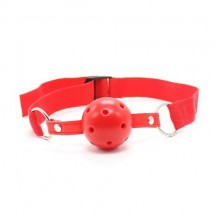 Красный кляп-шар с нейлоновым ремешком