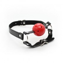 Дышащий кляп-шар красный с фиксацией подбородка