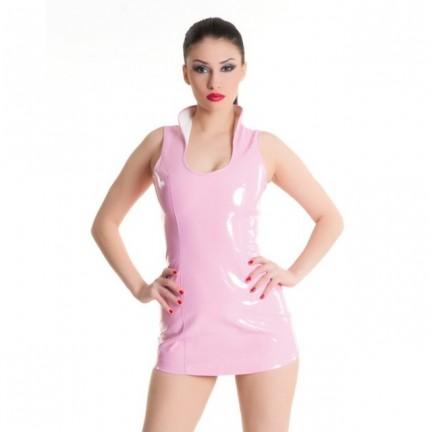 Розовое платье из лаковой иск.кожи S