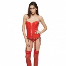 Сексуальный красный лаковый корсет