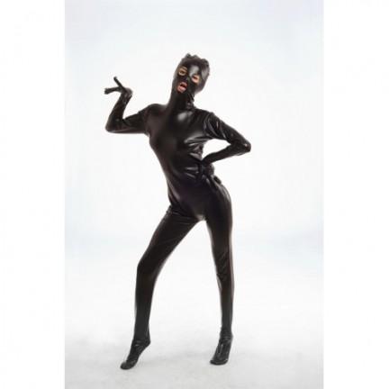 Черный блестящий боди-комбинезон M