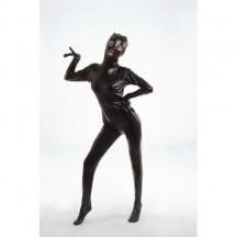 Черный блестящий боди-комбинезон L