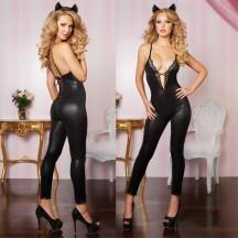 Черный глянцевый комбинезон женщины-кошки L/XL