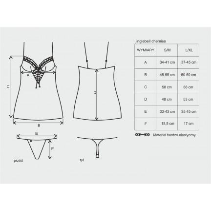 Женская новогодняя сорочка Jinglebell со шнуровкой со стрингами S/M
