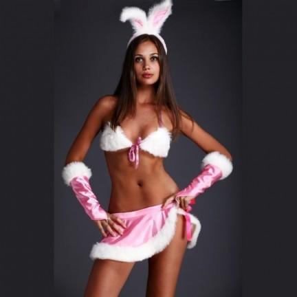 Соблазнительный костюм Зайка розовый M/L