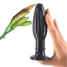 Черная анальная пробка Бутон с присоской