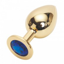 Большая золотистая пробка со стразом Gold Blue L