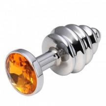 Анальная рельефная пробка Small Silver оранжевая