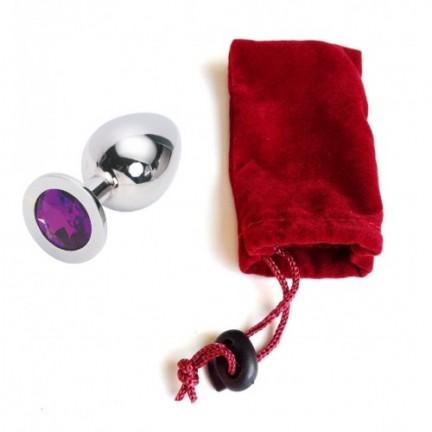 Большая анальная пробка Anal Jewelry Plug Silver Violet L