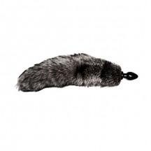 Анальная втулка с серым лисьим хвостиком