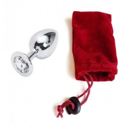 Большая анальная пробка Anal Jewelry Plug Silver Diamond L