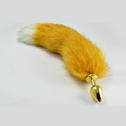 Большой анальный плаг с рыжим хвостиком лисы