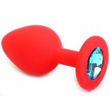 Красная силиконовая пробка с голубым стразом S