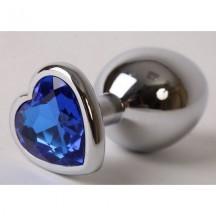 Анальная пробка с голубым камушком-сердечком в матрешке