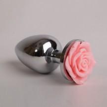 Металлическая анальная пробка со светло-розовой розой M