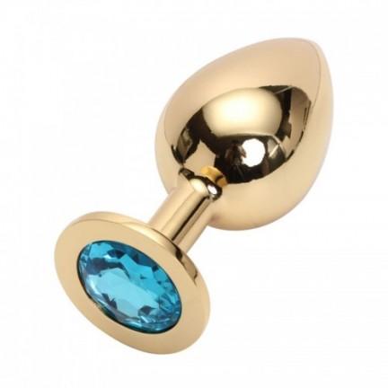 Большая золотистая пробка со стразом Gold Light Blue L