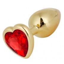 Золотая металлическая анальная пробка с красным камушком в виде сердечка M