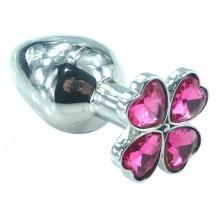 Анальный плаг с кристаллом в виде цветка Клевера розовый