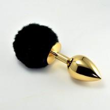 Анальная пробка с черным хвостом Small Gold Plug