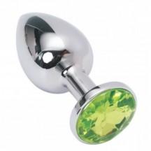 Мини-плаг из стали с кристаллом Silver Light Green