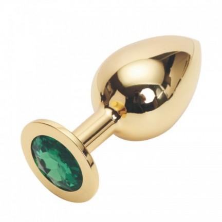 Стальная пробка Jewelry Plug Medium Gold зелёная