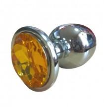 Анальная пробка из алюминия с кристаллом Yellow L