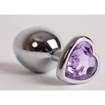 Анальная пробка с фиолетовым камушком-сердечком в матрешке