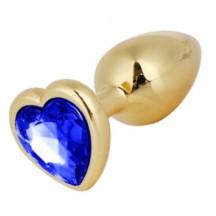 Золотая металлическая анальная пробка с синим камушком в виде сердечка S