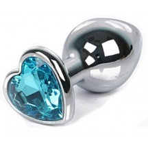 Анальная пробка с голубым камушком-сердечком размер S