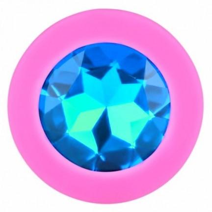 Розовая силиконовая пробка с голубым кристаллом M