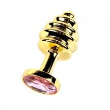 Анальная рельефная пробка Small Gold нежно-розовый