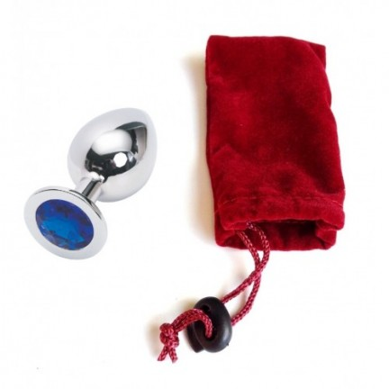 Большая анальная пробка Anal Jewelry Plug Silver Blue L
