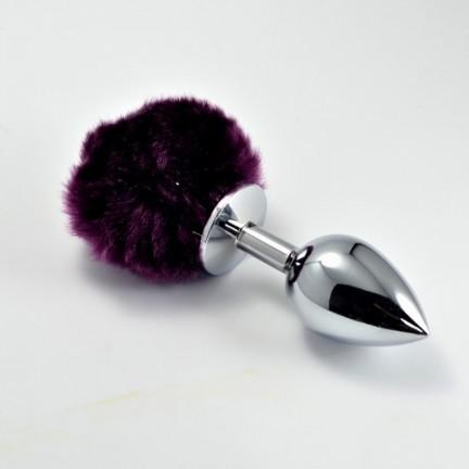 Серебристая анальная пробка с фиолетовым хвостиком