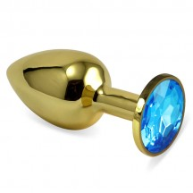 Анальное украшение Golden Plug Small с голубым стразом