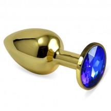 Анальное украшение со стразом Golden Plug Small синий