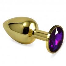 Анальное украшение Golden Plug Small с фиолетовым стразом