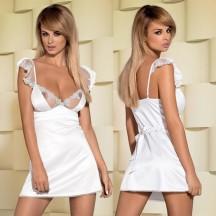 Атласная белая сорочка с полупрозрачными вставками Feelia S/M