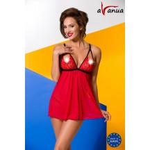 Эротическая красная сорочка с кружевными вставками Salome L/XL