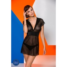 Черная полупрозрачная сорочка Effi S/M