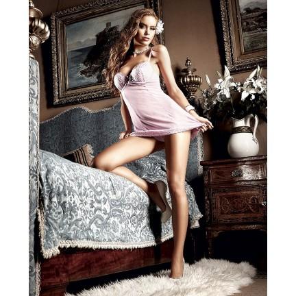 Полупрозрачная нежно-розовая сорочка с кружевной окантовкой M/L