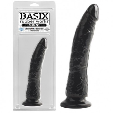 Фаллоимитатор на присоске Basix Rubber Works Slim 7 Black