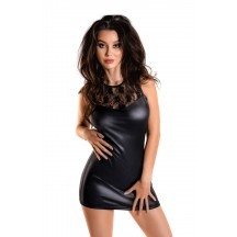 Платье Glossy Lulu из материала Wetlook черное, размер M