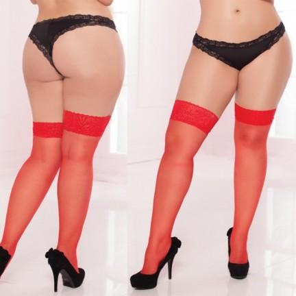 Чулки с кружевной резинкой красные XL