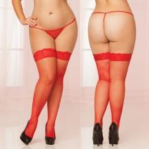 Красные чулки в сетку с кружевной резинкой XL