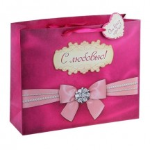 Подарочный пакет Романтичный бант 32 х 26 см