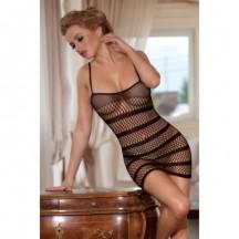 Платье-сетка с полосками черное