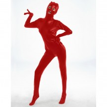 Красный блестящий боди-комбинезон L