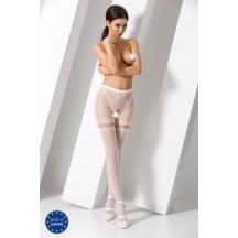 Белые эротичные колготки сетка с доступом S015