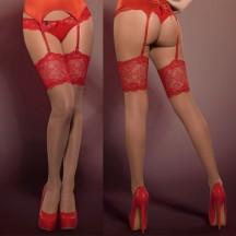 Телесные чулки с красным кружевом Secred Stockings S/M