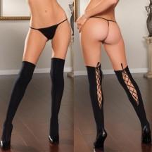 Непрозрачные чулки со шнуровкой